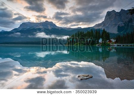 Daybreak At The Beautiful Emerald Lake, Yoho National Park, British Columbia, Canada