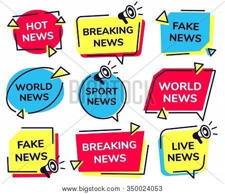 News Label. Breaking, Live Sport And Fake News Badges Vector Set. Bundle Of Modern Banners For Telev