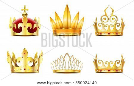 Realistic Crown And Tiara. Golden Royal Crowns, Queens Gold Diadem And Monarchs Crown Vector Set. Co