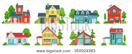 Suburban House. Real Estate Facades, Holiday Mansions And Country Houses With Roof Vector Set. Bundl