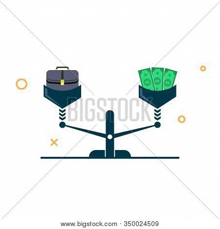Workbag And Money On The Scales. Job Equity And Finance Concept. Vector Illustration