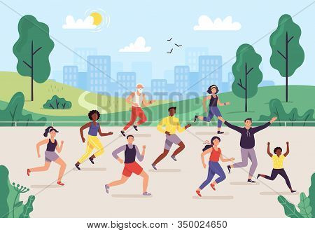 Park Marathon. People Running Outdoor, Joggers Group And Sport Lifestyle. Jogging Vector Illustratio