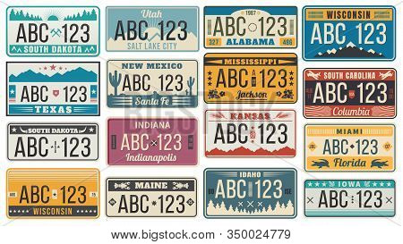 Car Number License Plate. Retro Usa Cars Registration Number Signs, Texas, Wisconsin And Kansas Lice