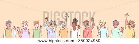 Set Of Multiethnic Children Volunteers Concept. Group Of Multinational Children Waving Their Hands I