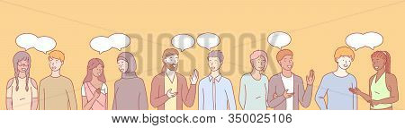 International Communication Set Concept. Collection Of Multilingual And Multiethnic People, Girls An