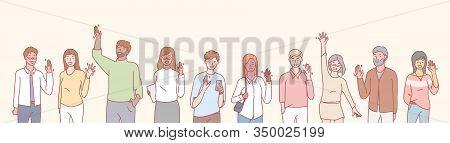 Set Of Multiethnic People Volunteers Concept. Group Of Multinational Men And Women Waving Their Hand