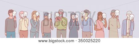Set Of Multiethnic People With Masks Concept. Group Of Multinational Men And Women With Psychologica