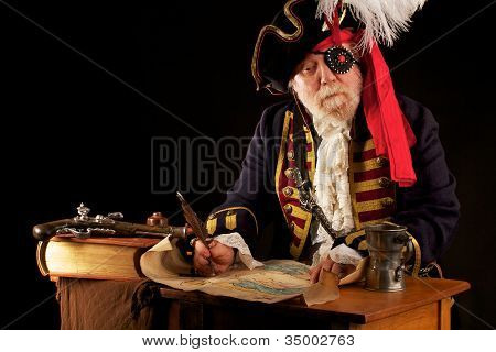 Old Pirate Captain Drawing His Treasure Map Using Quill Pen