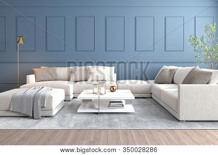Interior Of Living Room With Pale Blue Wall Big Sofá Golden Lamp And Olive Plant 3d Render