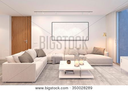 Modern And Elegant Living Room Frontal View With Big Corner Couch And Empty Canvas Frame For Mock Up