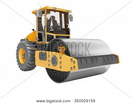 Roller With Vibration For Laying Asphalt Isolated 3d Rendering On White Background No Shadow