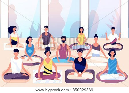 Meditation Group. People Sit In Lotus Posture And Meditate Against Panoramic Window. Business Medita