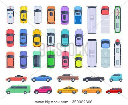 Top Side View Cars. Auto Transport, Truck And Car Roof Of Vehicle Transport. Public And Privat Trans