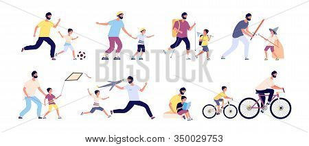 Father With Children. Happy Fatherhood, Daddy And Kids Spending Time Together Playing Football, Hiki