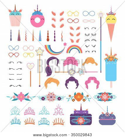 Pony Unicorn Face Elements. Unicorns Head With Hairstyle, Mane And Horn. Crowns And Glasses, Wings A
