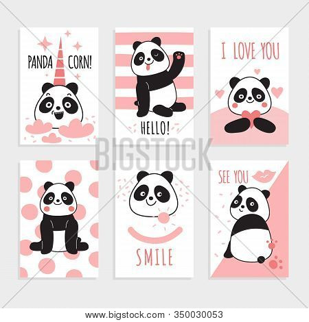 Panda Cards. Cute Chinese Bears, Happy Panda With Magic Accessories, Birthday Party Invitations. Col