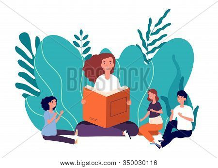 Mother Reading Book. Smiling Woman Tells Fairytale Their Cute Children. Girl With Books Sitting With