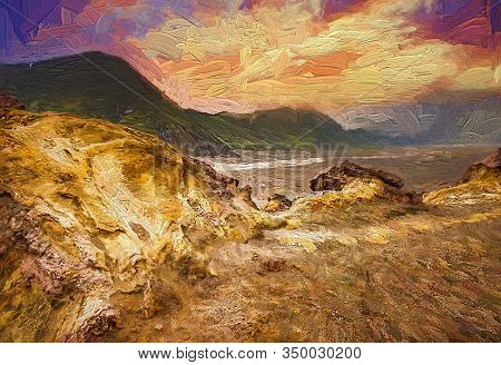 Colorful Evening Sunset At Lava Fields, Rocks And Sand Caused By Volcanic Lava Of Mt.bromo Volcano L