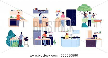 People Cooking. Woman Preparing Salad, Kitchen And Outdoor Eating. Men Women Dining, Eat Food And Ba