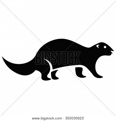 This Vector Image Shows An Otter Icon In Glyph Style. It Is Isolated On A White Background.