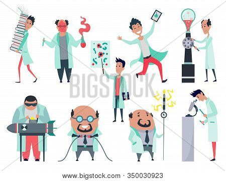 Set Of Male Scientists Characters In Laboratory. Doctor Research In A Laboratory Lab. Crazy Scientis