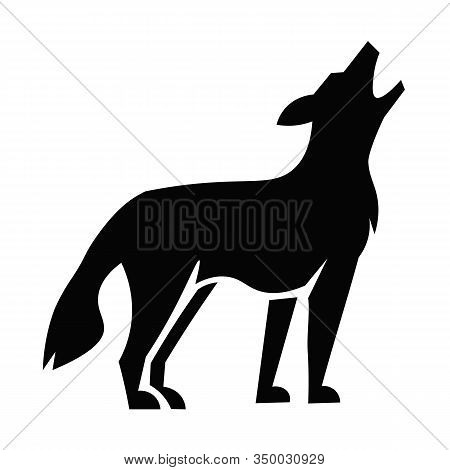 This Vector Image Shows A Coyote Icon In Glyph Style. It Is Isolated On A White Background.