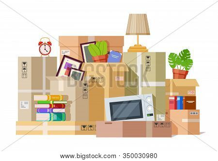 Moving Boxes. Carton Box Packing Family Stuff. Cardboard Parcels Relocation, Cargo Package To New Ho