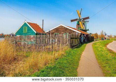 Zaanse Schans, Netherlands - April 1, 2016: Panoramic View Of Windmills In Zaanse Schans, Traditiona