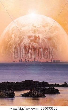 Science Fiction Book Cover Template - Fantasy Landscape Of Modern City Skyline With Rocks On The For