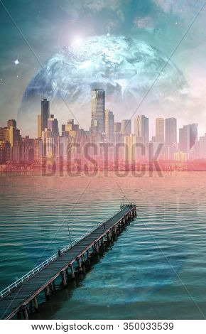 Science Fiction Book Cover Design. Alien Planet Landscape - Long Wooden Pier Stretching Into The Oce