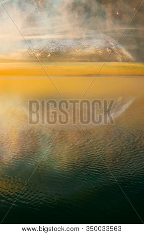 Science Fiction Book Cover - Minimalist Fantasy Landscape Sunset Over Calm Water With Clouds And Ali