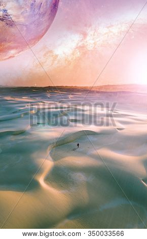 Book Cover Template Format. Alien Landscape Of Sunrise Over Pristine Sand Dunes With Lonely Person W