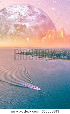 Fantasy Aerial Landscape - Boat Sailing Near Ocean Coastline With Modern City Skyline And Alien Plan