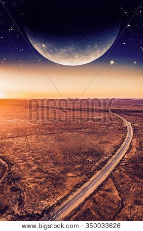 Book Cover Template. Unreal Landscape - Dark Planet Over Road Winding Through Desert Landscape At Su