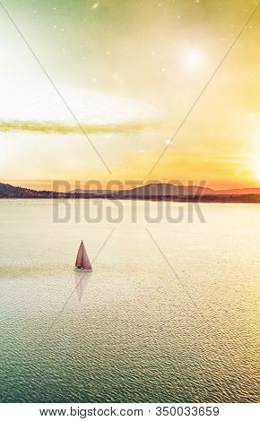 Minimalist Fiction Book Cover Design With Copy Space. Scenic Unreal Sunset Over Beautiful Lake And L