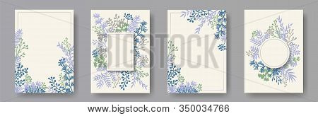 Botanical Herb Twigs, Tree Branches, Flowers Floral Invitation Cards Set. Bouquet Wreath Vintage Car
