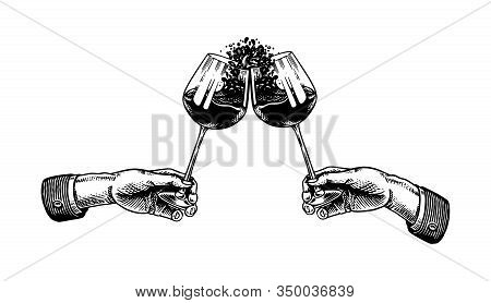 Cheers Toast And Clink Glasses Of Wine In Hand. Celebration Concept. Red Grape Alcoholic Drink. Vint
