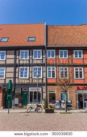 Boizenburg, Germany - April 16, 2019: Shops In Half Timbered Houses In Boizenburg, Germany