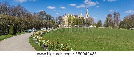Schwerin, Germany - April 16, 2019: Panorama Of Flowers In The Castle Garden Of Schwerin, Germany