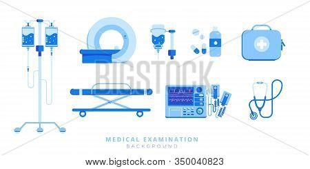 Emergency Medical Care Equipment Set Of Ambulance Stretcher, Defibrillator, Injection, Mri, Stethosc