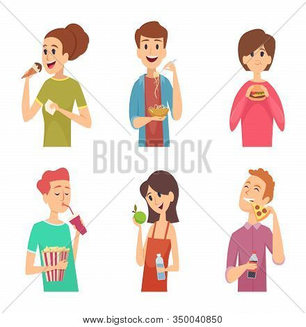 People Eating. Healthy Food Male And Female Eating And Drinking Person Outside Vector Characters. Ma