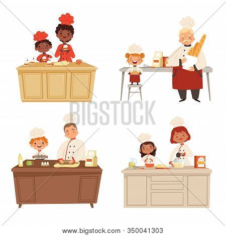 Kids Cooking. Chef Uniform Making Food With Adults Cook Male And Female Professional Peoples Vector