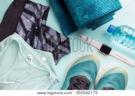 Healthy Lifestyle, Sport Or Athletes Equipment Set On Bright Background. Flat Lay. Top View With Cop
