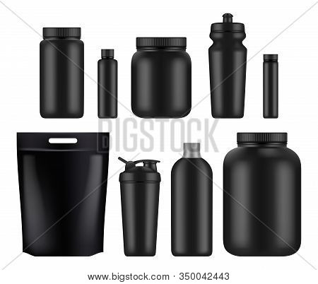 Sport Nutrition. Fitness Whey Plastic Jar And Bottles Power Food For Supplements Gym Athletes Blank