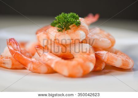 Fresh Shrimps Served On Plate / Boiled Peeled Shrimp Prawns Cooked In The Seafood Restaurant