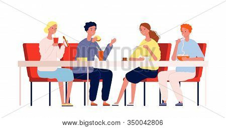 Friends Eating. Happy People Meeting And Have A Dinner Sitting At The Table In Restaurant Or Cafe Ve