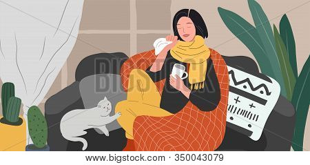 Girl Caught A Cold Flu Or Virus On Couch With Cat And Tea. Young Woman Is Sick And Cough At Home Sca