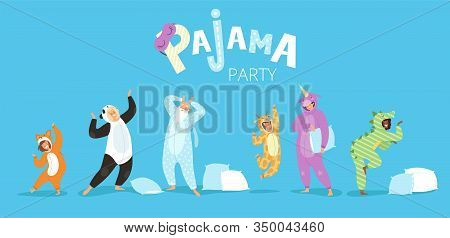 Pyjamas People. Funny Characters Kids Female And Male In Cute Night Clothes Colored Costumes Vector