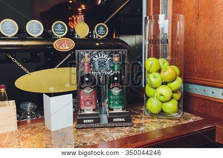 Saint-petersburg, Russia. March 19, 2019. Bottle Vodka Beluga Nobel Russian Vodka.