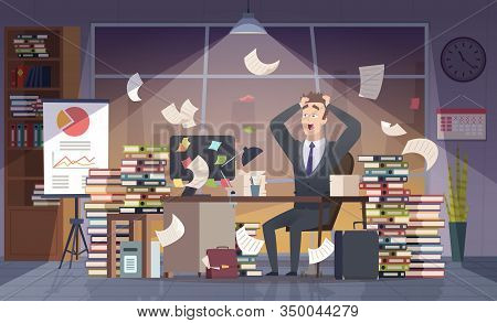 Busy Businessman. Office Manager Hard Work Deadline Stress Chaos Interior Vector Cartoon Concept. Bu